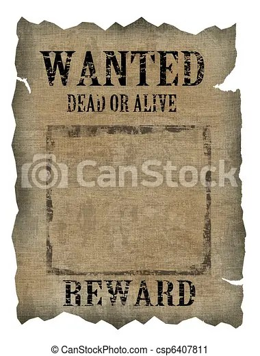 Clipart Of Vintage Wanted Poster On White Background Csp6407811 Search Clip Art Illustration