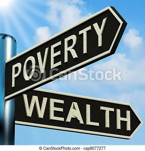 Poverty Or Wealth Directions On A Signpost - csp8077277