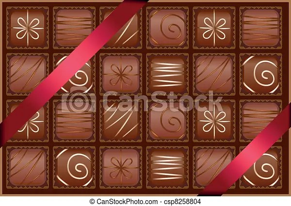 EPS Vector Of Box Of Chocolates With Ribbons As A Gift
