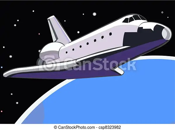 Vector Illustration of Space shuttle in orbit Space