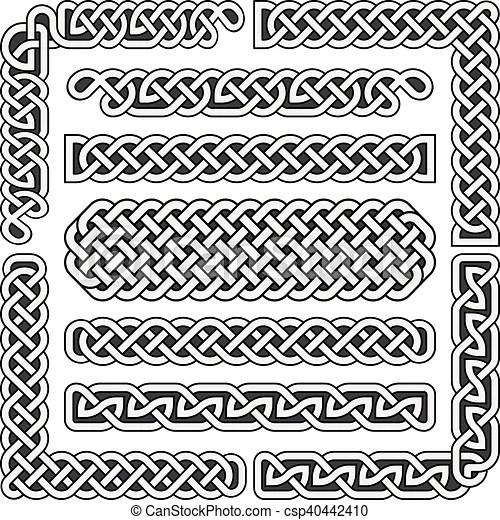 Celtic Knots Vector Medieval Seamless Borders Patterns And Ornament Corners Pattern Brushes Set Celtic Knots Medieval