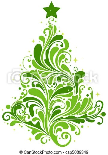 Christmas Tree Design Featuring Abstract Swirls Shaped Like A Christmas Tree