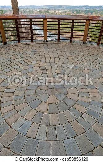 https www canstockphoto com circular brick garden patio view deck 53856120 html