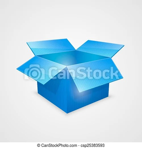 Color Vector Open Box Blue Vector Illustration Eps