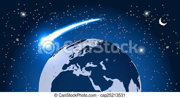 Comet fly around the planet in space. vector illustration ...
