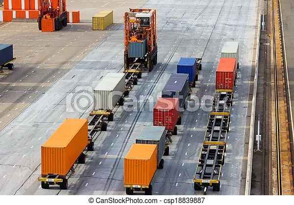 Container terminal. Large port container terminal and mobile spreader.