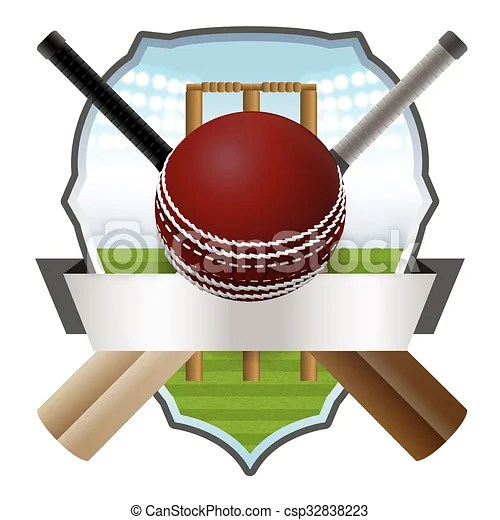 Cricket Bat And Ball Badge Illustration Cricket Bats And Ball In Front Of A Wicket And Athletic Badge Vector Eps 10