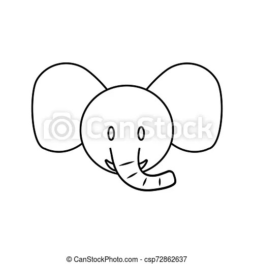 Cute Elephant Face Abstract Cute Elephant Face Draw Vector Illustration Design