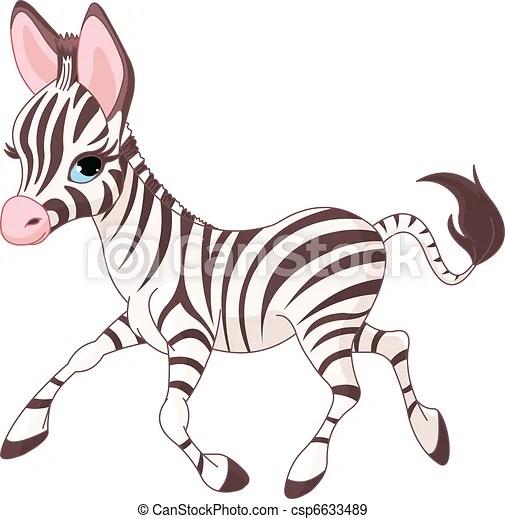 cute running baby zebra Illustration of cute running baby
