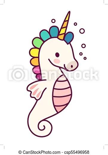 Cute Unicorn With Purple Mane Simple Cartoon Vector