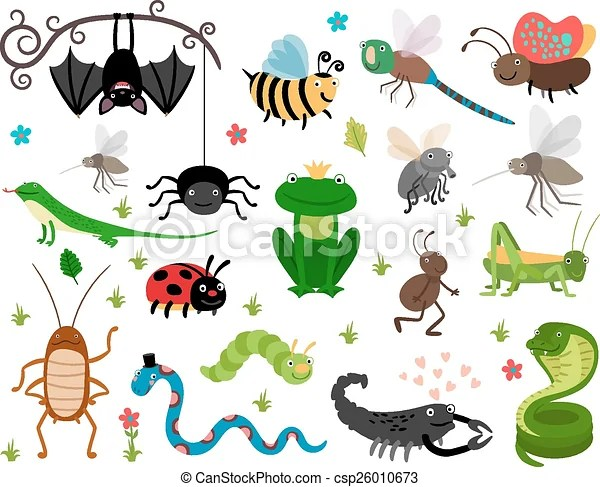 Cute Vector Insects Reptiles Bee Grasshopper Lizard
