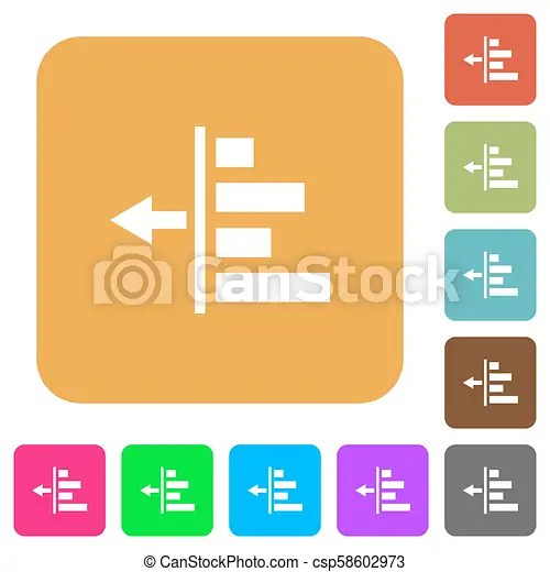 Decrease left indentation of content rounded square flat icons. Decrease left indentation of content flat icons on rounded square vivid color ...