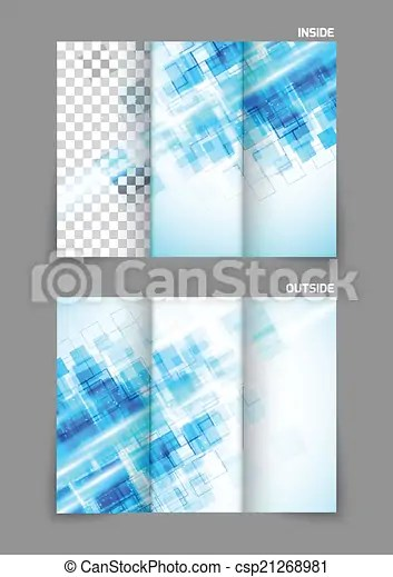 Digital Tri Fold Brochure With Squares Abstract Blue