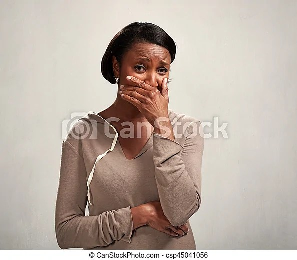 Disgust. African american woman with disgusting face expression.