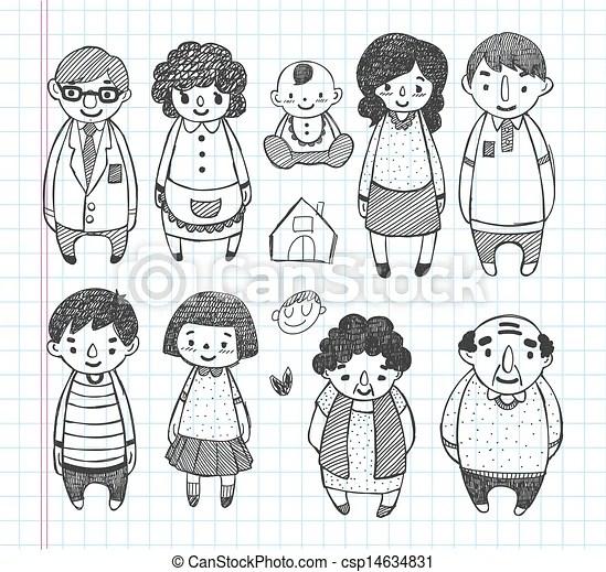 Doodle Family Icons Vectors Search Clip Art