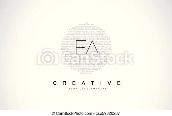 Ea e a logo design with black and white creative text ...