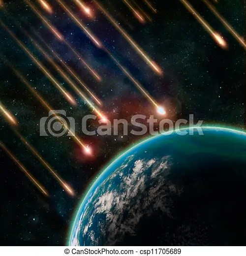 Earth in space with a flying asteroids, abstract background.