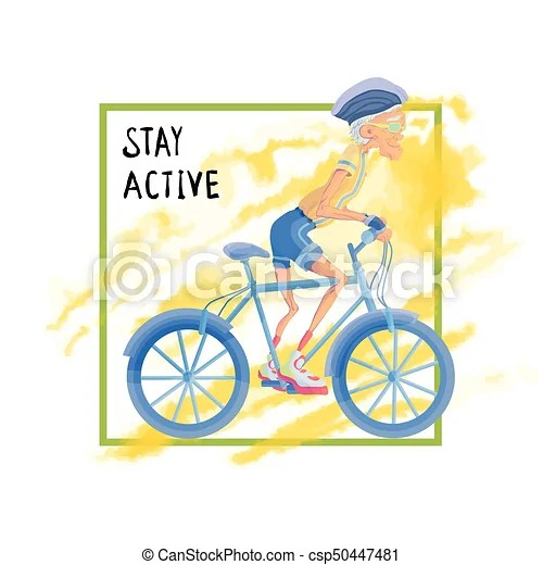 Elderly man rides a bicycle. active lifestyle and sport ...