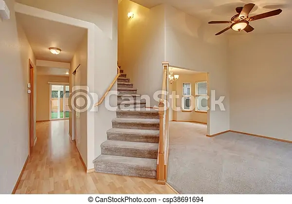 Empty Hallway Interior With Carpet Stairs View Also Hardwood And   Carpet For Stairs And Hallway   Hardwood   Stylish   Upstairs   Popular   Hollywood Style
