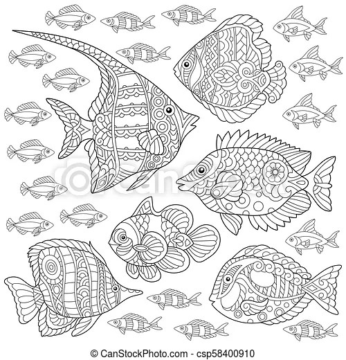 Fish Collection Coloring Page Collection Of Tropical Fishes Coloring Page Colouring Picture