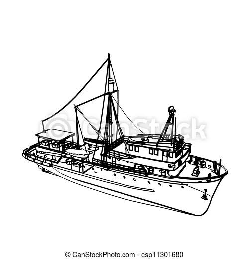 Motor Fishing Boat Isolated On White Vector Illustration
