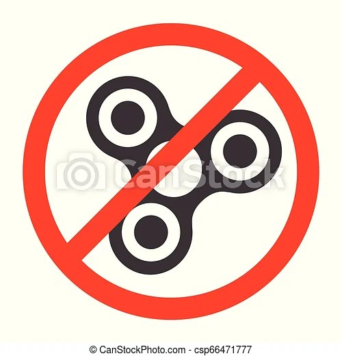 Forbidden fidget spinner icon - toy for stress relief improvement of attention span. filled with gray color. isolated vector
