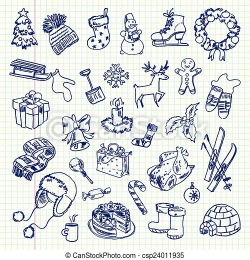 Freehand Drawing Winter Holiday Items On A Sheet Of