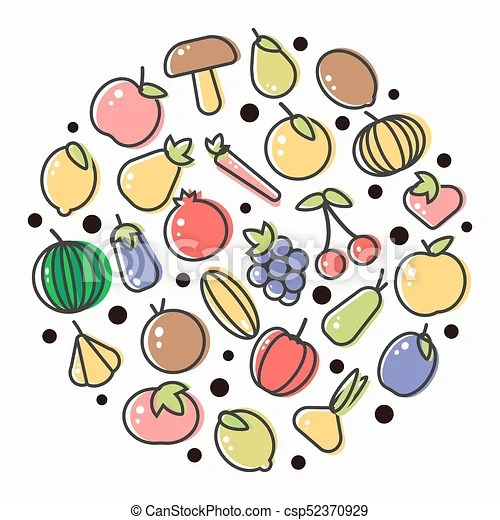 fruits and vegetables poster drawing
