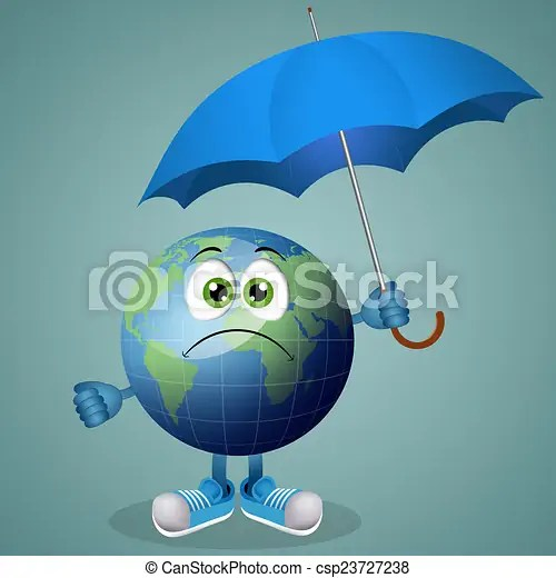 Illustration Of Funny Earth With Umbrella For Rainy Day