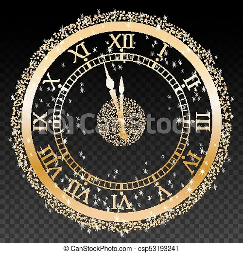 Gold new year clock on a transparent background vector illustration  Gold New Year Clock On A Transparent Background Vector
