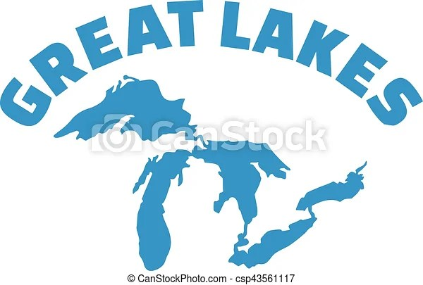 Great lakes silhouette with name.