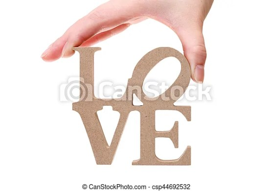 Hand holding block letters  word love  Hand holding block wooden     Hand holding block letters  word love   csp44692532