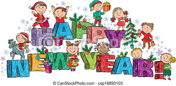 happy new year drawing for kids