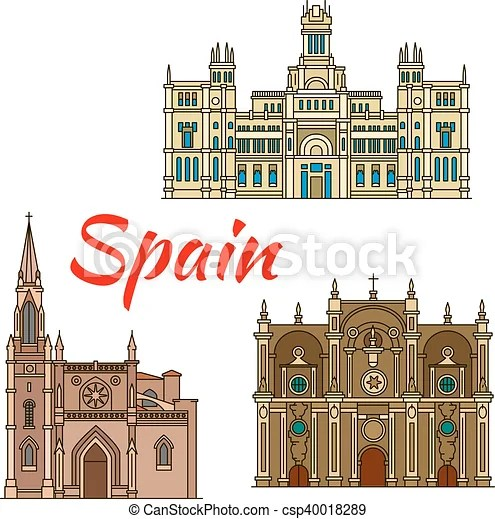 Historic Buildings And Architecture Of Spain Famous Historic Buildings And Landmarks Of Spain Detailed Architecture Icon Of Canstock