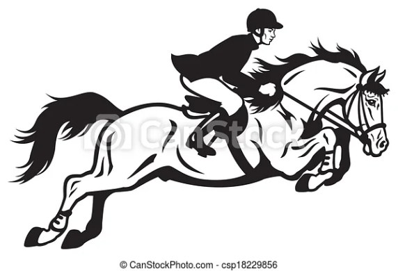 Equestrian Stock Illustrations  10 646 Equestrian clip art images         horse rider equestrian jumping  black and white side view