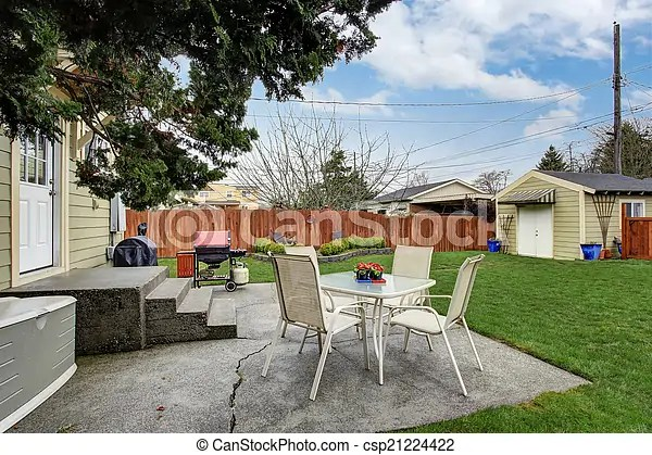 https www canstockphoto com house backyard with small patio area 21224422 html
