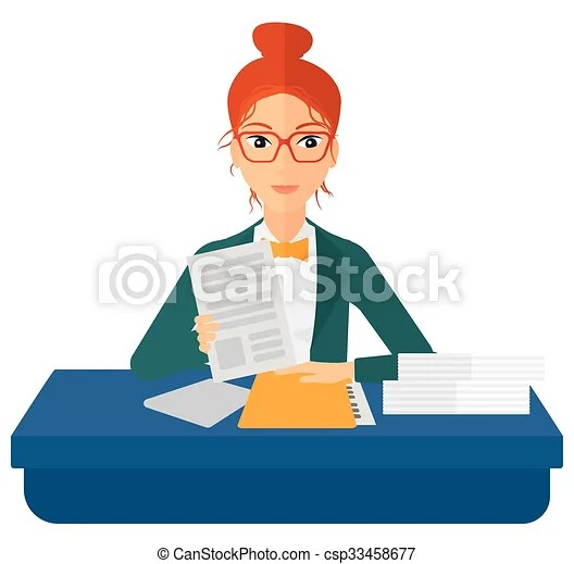Hr manager checking files. A human resources manager reading application portfolios vector flat design illustration isolated on white background.