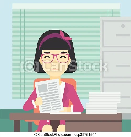 Hr manager checking files vector illustration. An asian human resources manager reading application portfolios in the office. concept of ...
