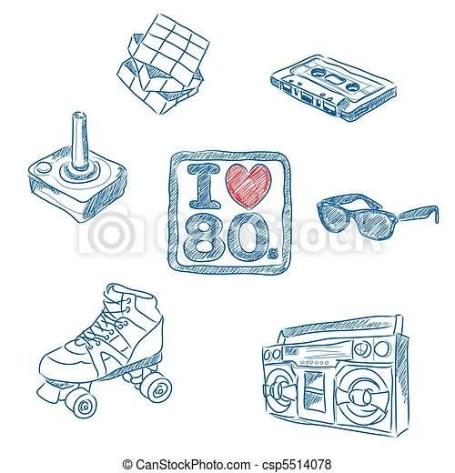 Download I love the 80s doodles. Sketched vector illustration of ...