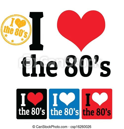 Download I love the 80's sign and labels on white background ...
