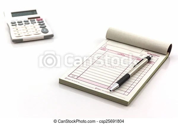 Invoice book which open blank page with pen and calculator  Invoice     Invoice book which open blank page with pen and calculator    csp25691804
