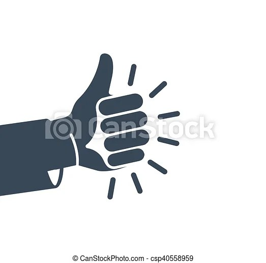 Isolated abstract grey color thumb up logo. human hand ...
