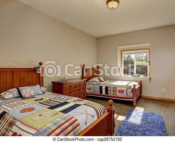 https www canstockphoto com kids bedroom with twin beds and boy 28752182 html