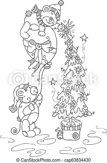 Kids Coloring Page Of Christmas Teddy Bears Scalable Vectorial Representing A Kids Coloring Page Of Christmas Teddy Bears