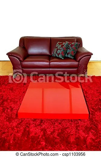 Living Red Passion Red Leather Sofa In Living Room Canstock