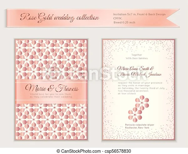 Do it yourself invitation tutorialsubscribe to our channel to keep up to date with our videos.↓↓↓↓↓↓ click to see more ↓↓↓↓↓↓↓↓*****. Luxury Wedding Invitation Template With Rose Gold Shiny Realistic Ribbon Back And Front 5x7 Card Layout With Pink Golden Canstock