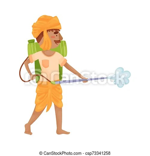 Man In Indian Clothes With A Sprayer Vector Illustration Indian Farmer In Orange Clothes Spraying Poison From A Green