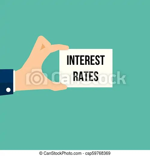 Man showing paper interest rates text. vector illustration.