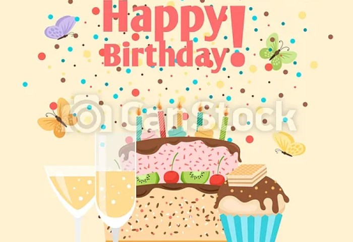 Muffin Cake And Champagne Birthday Card Happy Birthday Card With