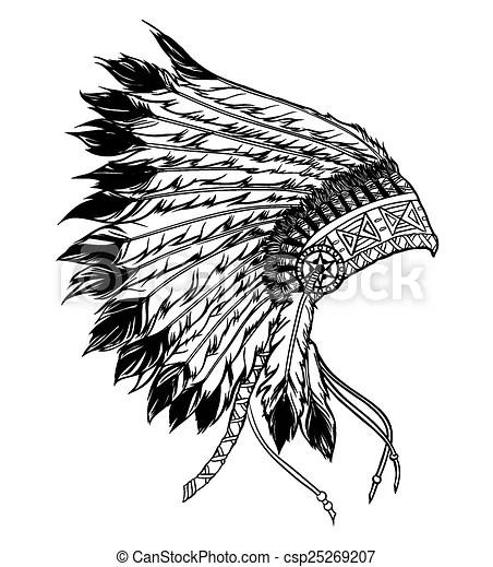 Native American Indian Chief Headdress Vector Illustration In B